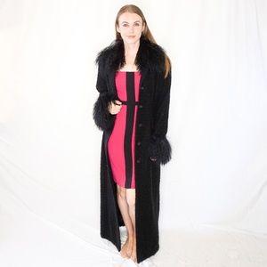 VINTAGE DAELTE Full Length Fur Coat Collar Black